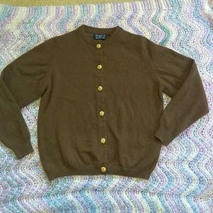Burberrys' by Ballantyne Brown Cashmere Cardigan